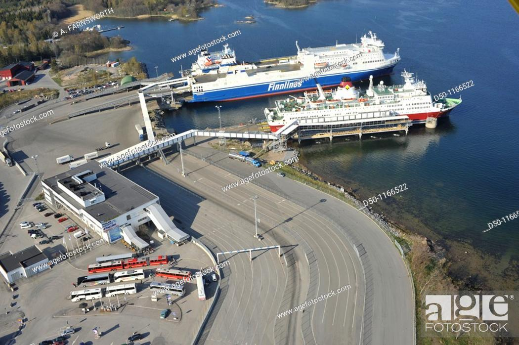Stock Photo: Aerial view of ferries to Finland, Kapellskär, Sweden.