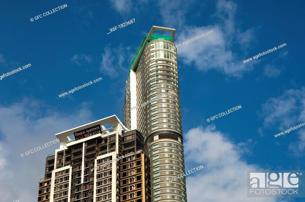 Stock Photo: Skyscrapers The Masterpiece and Pinnacle, Kowloon, Hong Kong.