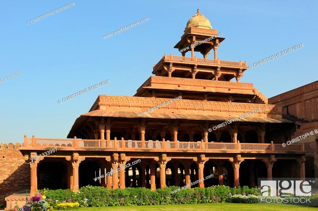 Stock Photo: India, Uttar Pradesh, World Heritage Site, Fatehpur Sikri, Panch Mahal pavilion.