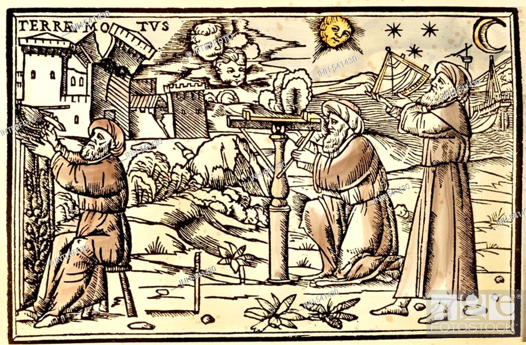 Stock Photo: astronomy, measuring instruments, 'Arabian scholars with sun dial, measuring device and sextant, colour woodcut, Germany, 16th century, private collection.