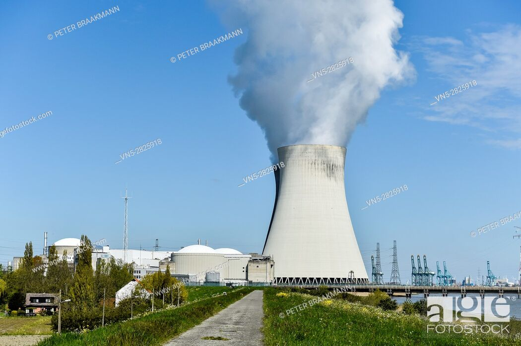 Stock Photo: Cooling Towers nuclear power plant, Doel, Belgium.