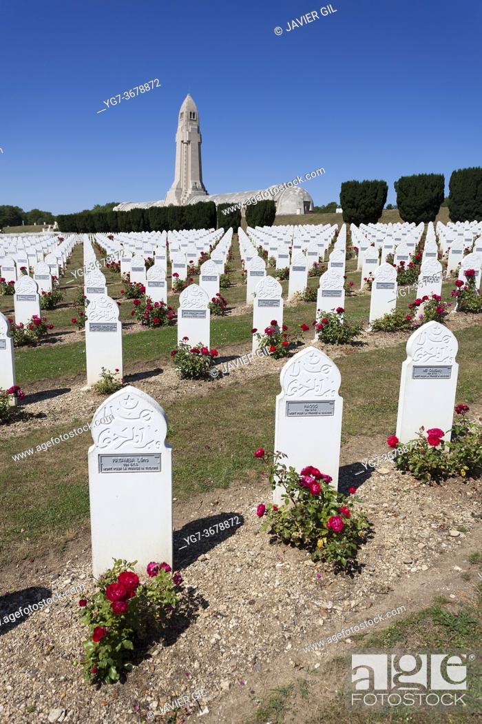 Stock Photo: Necropolis of Fleury devant Douaomont, Verdun, Lorraine, France.
