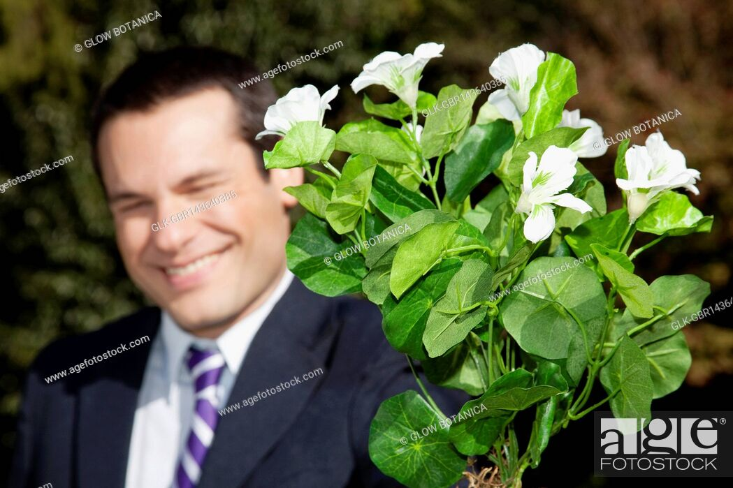 Stock Photo: Businessman holding a potted plant.