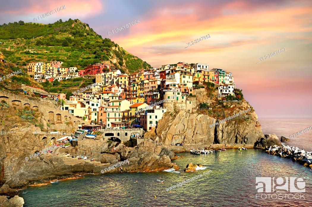 Stock Photo: Fishing port of Manarola at sunset, Cinque Terre National Park, Liguria, Italy.