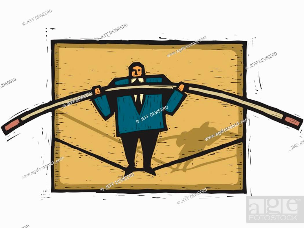 Stock Photo: A businessman walking on a tightrope.