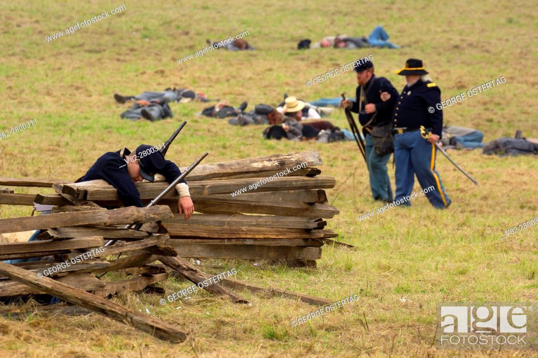 Stock Photo: Union soldier casualty after battle re-enactment, Civil War Reenactment, Willamette Mission State Park, Oregon.