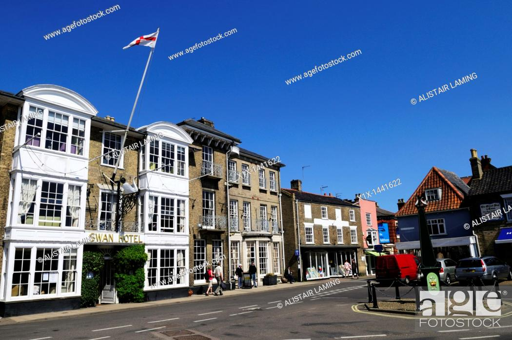 Stock Photo: The Swan Hotel and Market Place, Southwold, Suffolk, England, UK.