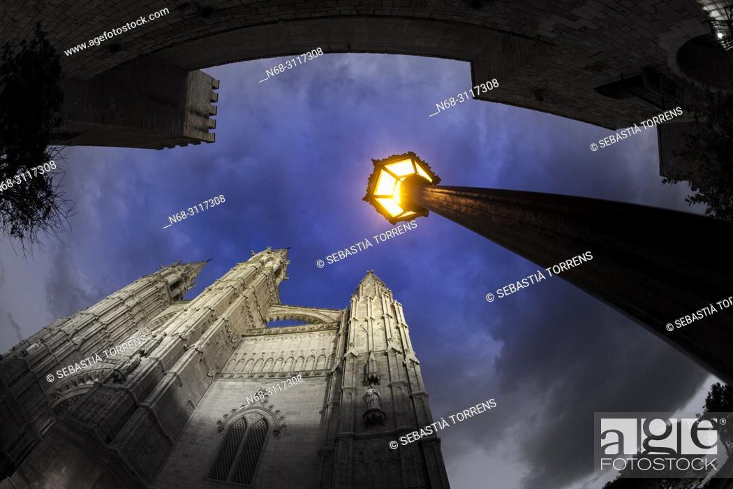 Stock Photo: Cathedral of Palma, Majorca, Balearic Islands, Spain.