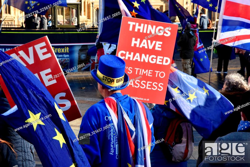 Stock Photo: Steve Bray, Anti Brexit Protest, Members of the Stand of Defiance European Movement (SODEM) continued their protest in a crucial week for Teresa May and the.