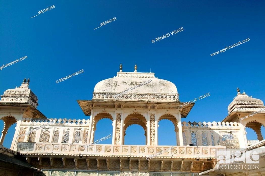 Stock Photo: City Palace. Udaipur. Rajasthan. India.