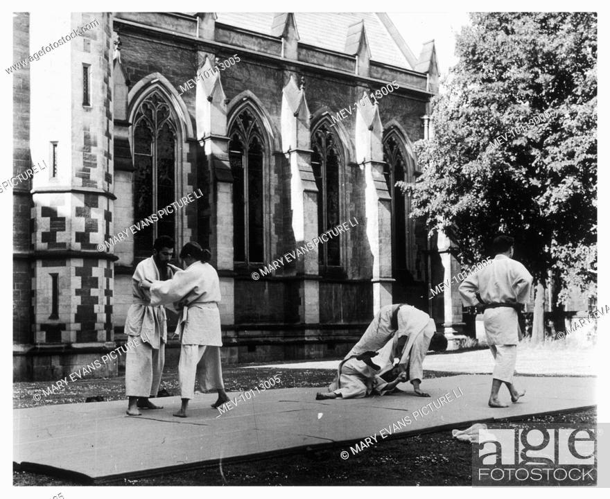 Stock Photo: Judo is practised in the 'Quad' at Oxford.