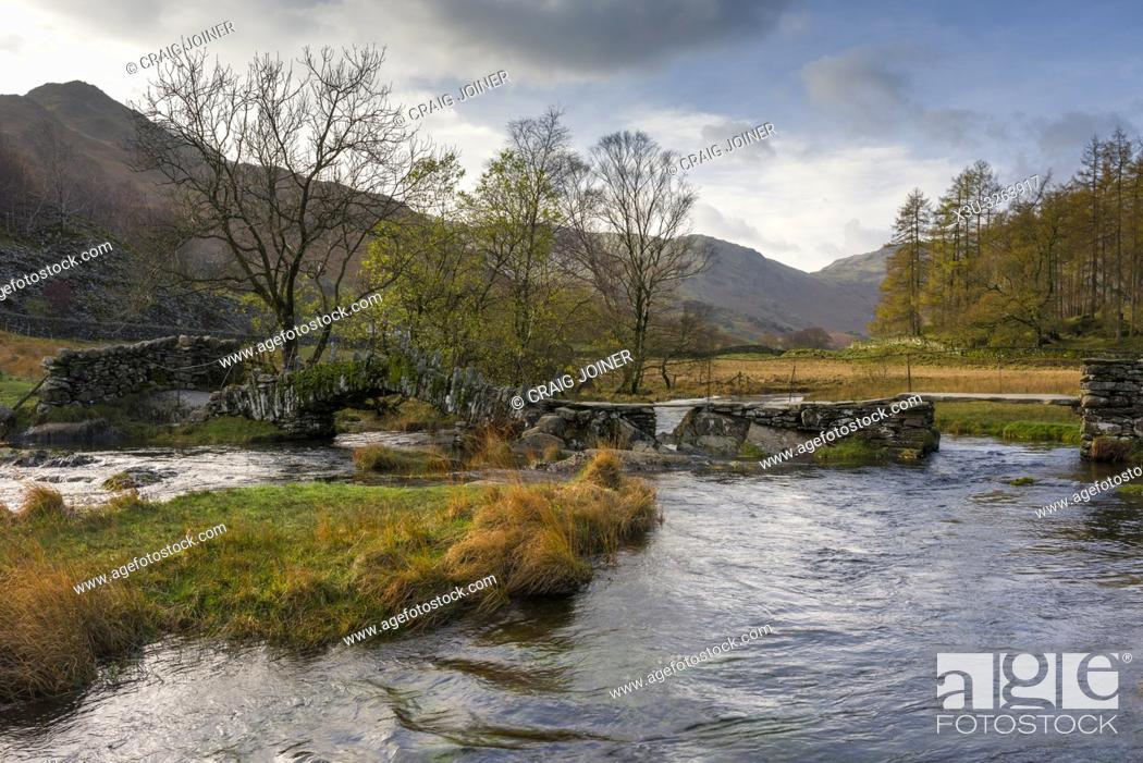 Stock Photo: Slater Bridge over the River Brathay in the Lake District National Park, Cumbria, England.