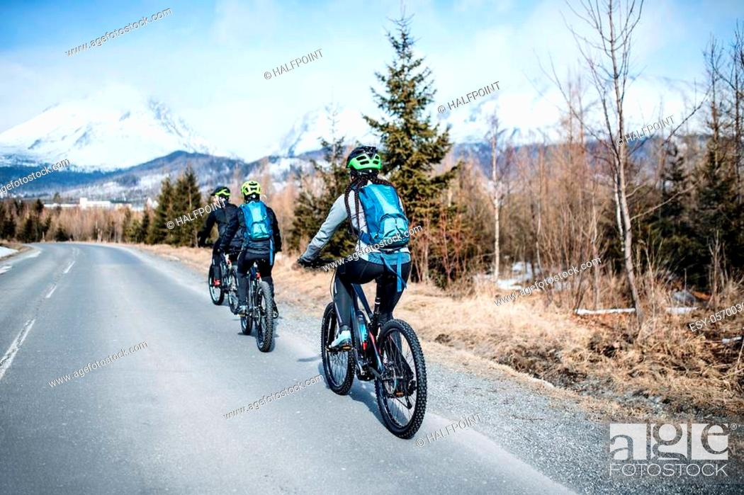 Stock Photo: A rear view of group of mountain bikers riding on road outdoors in winter.