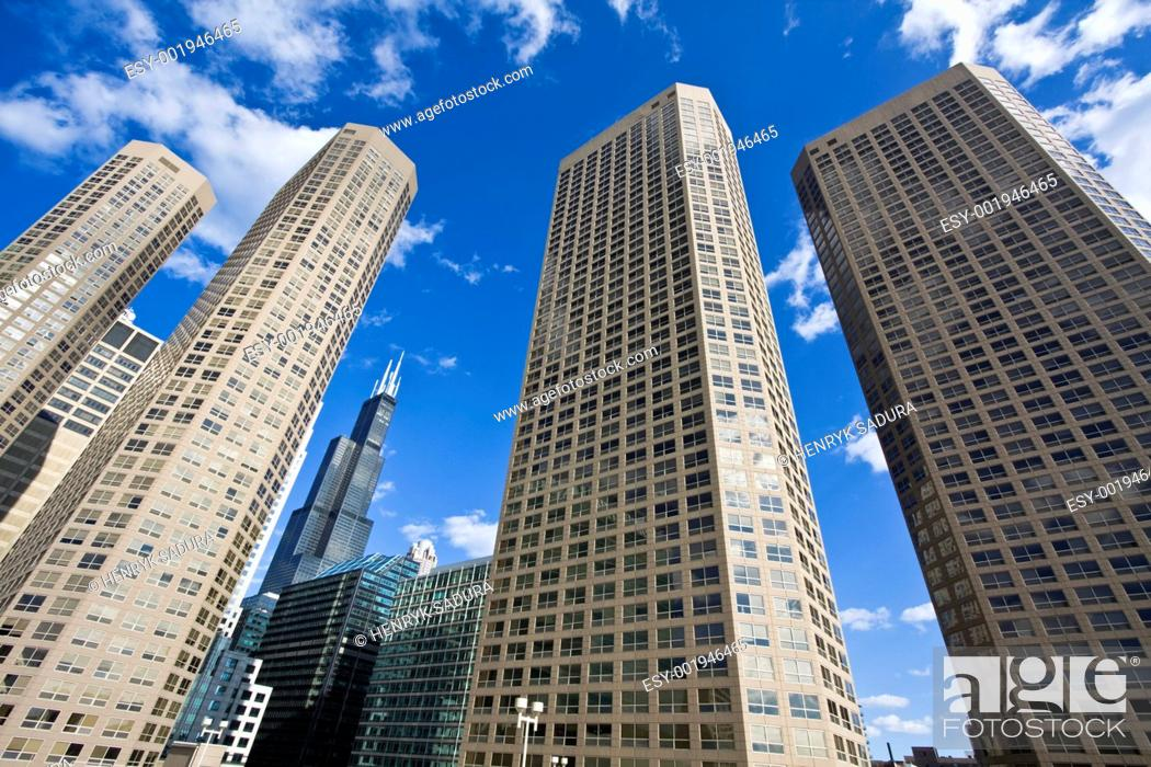 Stock Photo: Apartment buildings in Chicago.