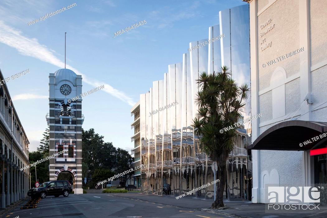 Stock Photo: New Zealand, North Island, New Plymouth, clocktower and Govett-Brewster Art Gallery.