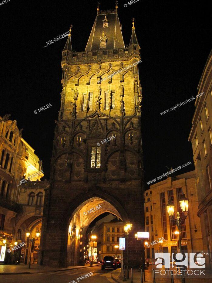 Stock Photo: Powder Tower, Old Town Prague, Prague, Czech Republic.