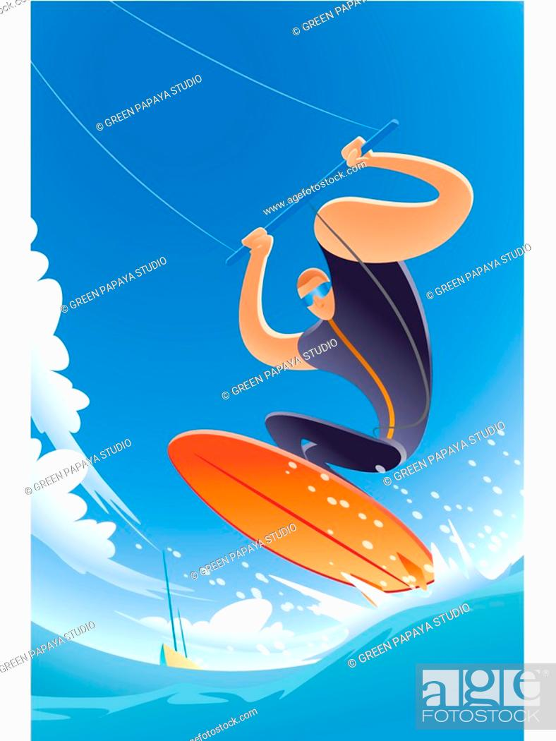 Stock Photo: A kite surfer in action.