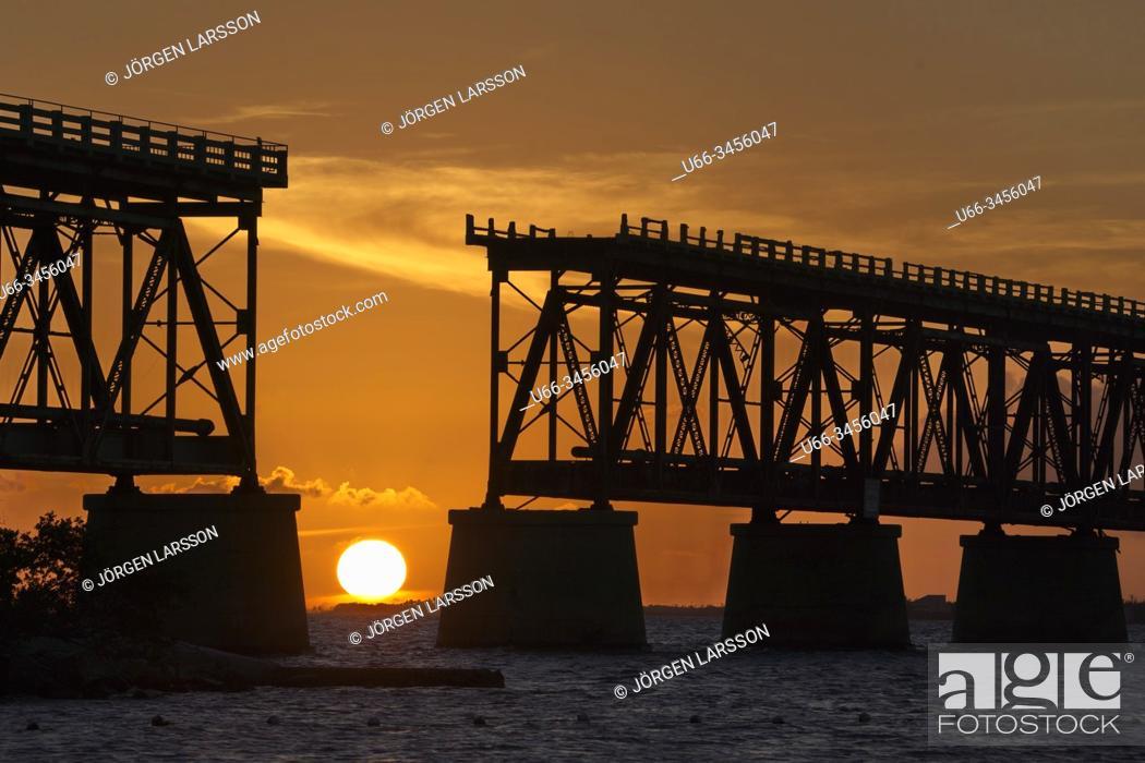 Stock Photo: Old Bahia Honda Bridge, Bahia Honda Key, Florida, USA.