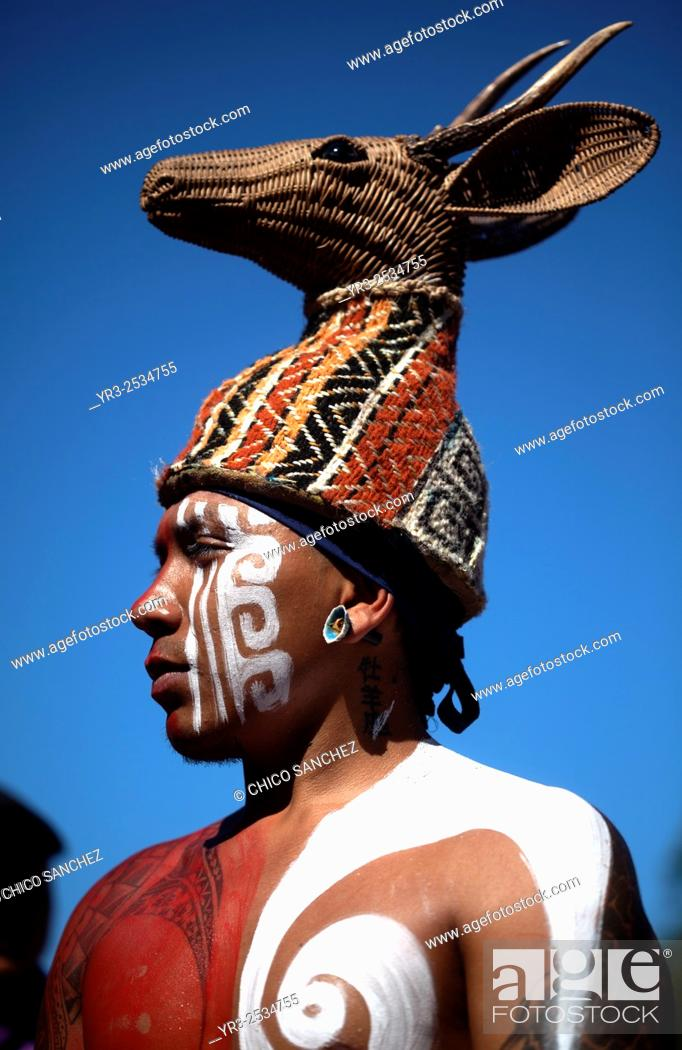 Stock Photo: A Mayan Ball Player from â. œPucxical Keejâ. . team of Playa del Carmen, Quintana Roo, during the first ¨Pok Ta Pok¨ World Cup in Piste, Tinum, Yucatan, Mexico.