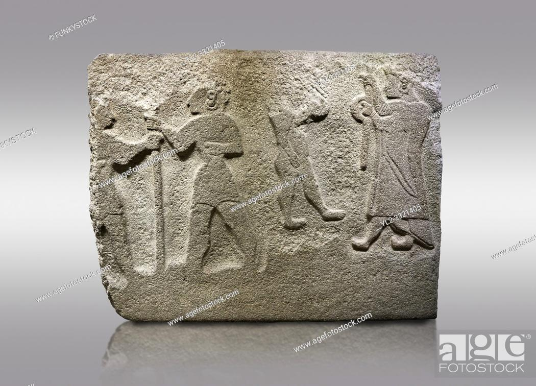 Stock Photo: Alaca Hoyuk Hittite monumental relief sculpted orthostat stone panel. Andesite, Alaca, Corum, 1399 - 1301 B. C. Anatolian Civilizations Museum, Ankara, Turkey.