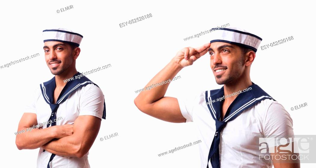 Stock Photo: Sailor isolated on the white background.