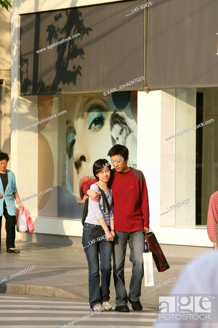 Stock Photo: Shopping, Huaihai Xilu, intersection Huaihai Xilu, shopping, people, pedestrians, consumer, consum.