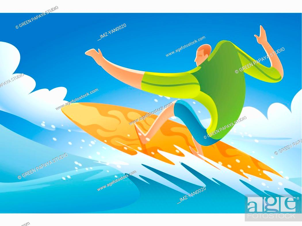 Stock Photo: Illustration of a man surfing.