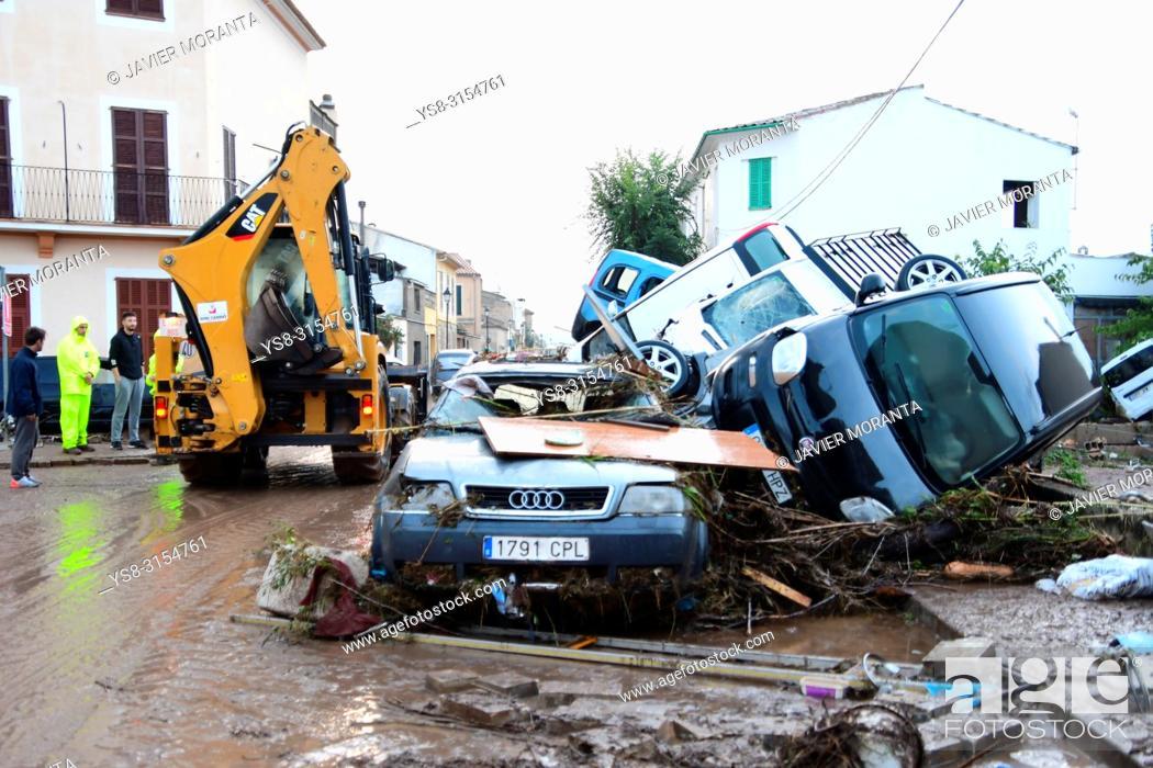 Stock Photo: Flood in Sant Llorenç des Cardassar, Balearic islands, Spain, October, 9, 2018.