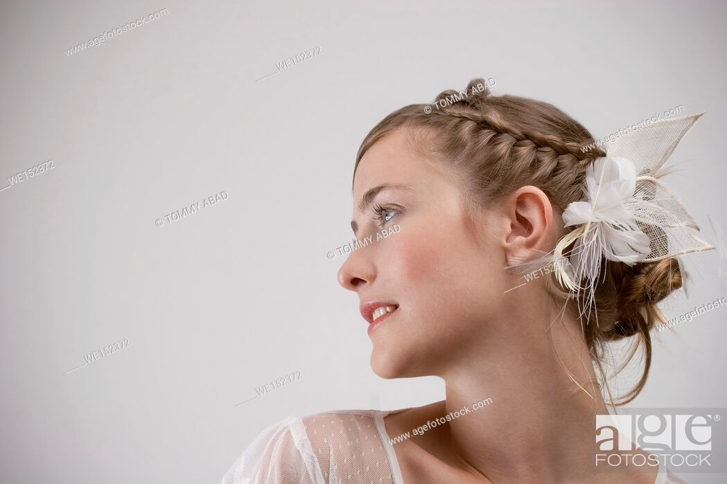 Stock Photo: woman with a headdress.