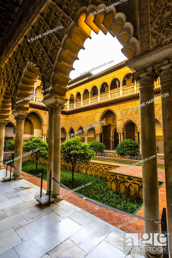 Stock Photo: The Alcázar of Seville (Real Alcazar) is a royal palace in Seville, Spain, built for the Christian king Peter of Castile.
