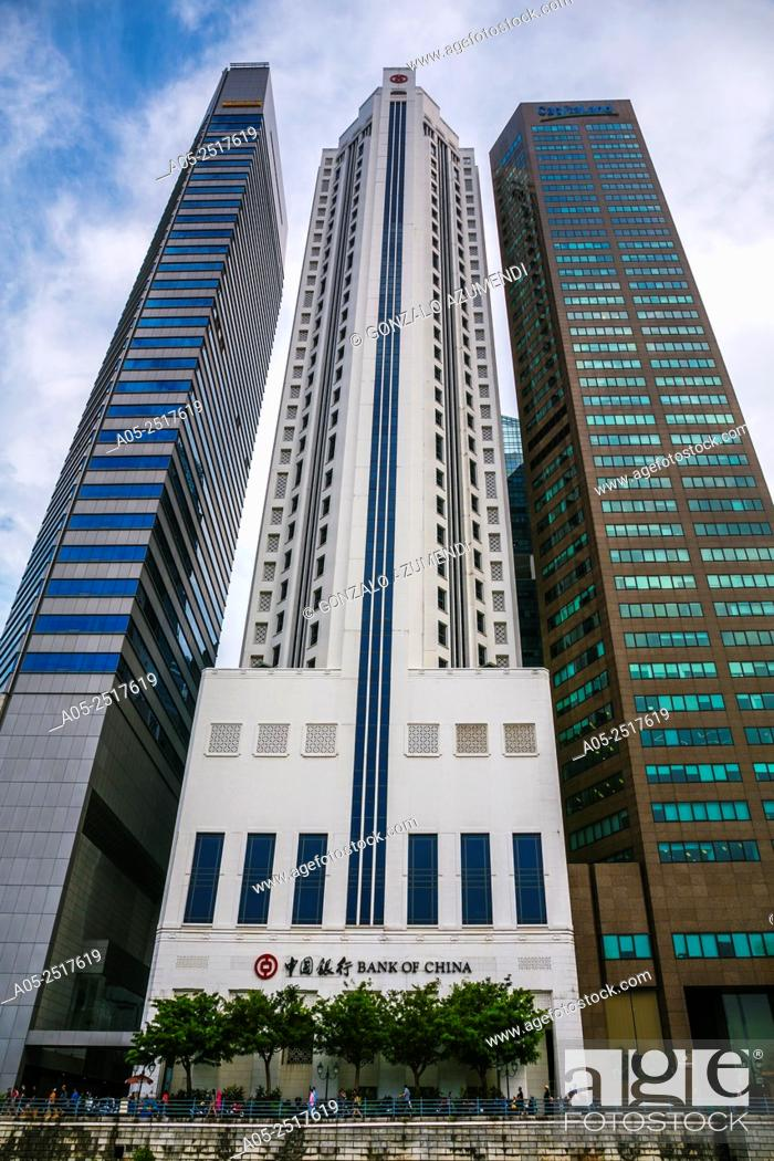 Stock Photo: Central Business District. Singapore River. City Skyline. Singapore. Asia.