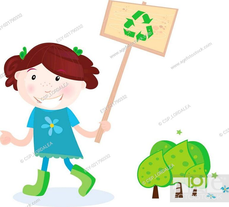 Stock Vector: School girl support recycling.