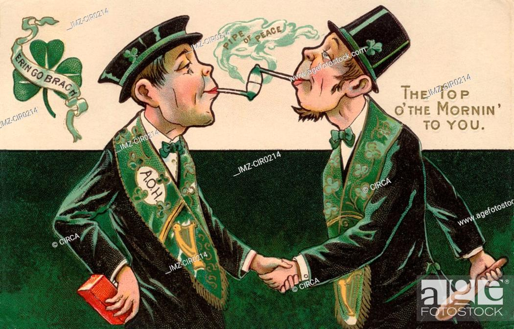 Stock Photo: A vintage St. Patricks Day card of two men smoking pipes.