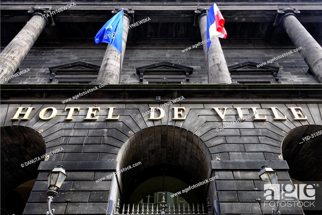 Stock Photo: Hotel de Ville - Town Hall, historic part of Clermont-Ferrand, Puy-de-Dôme department, Auvergne, Auvergne-Rhône-Alpes region, France, Europe.
