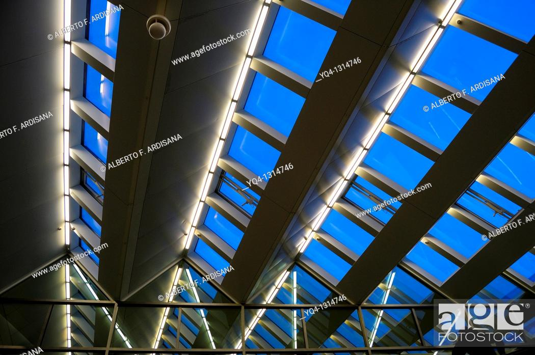 Stock Photo: Detail of the roof of the train station of Atocha in Madrid. Spain.