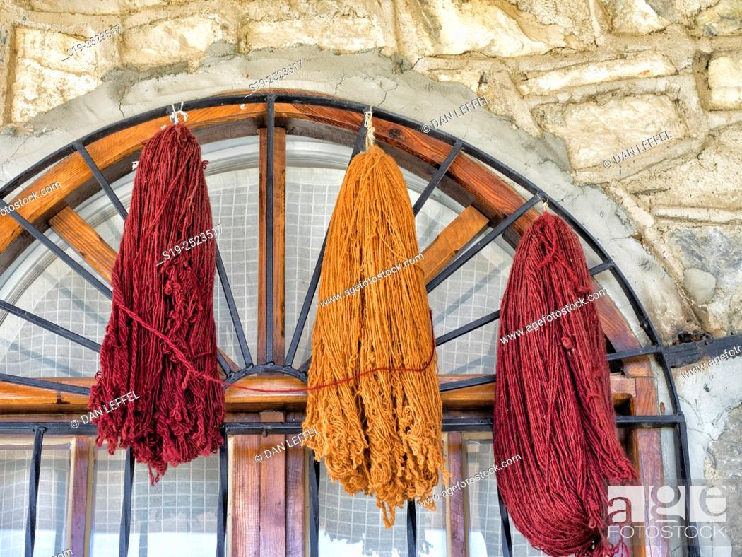 Turkey  Wool hanks drying  Rug manufacturing, Stock Photo, Picture