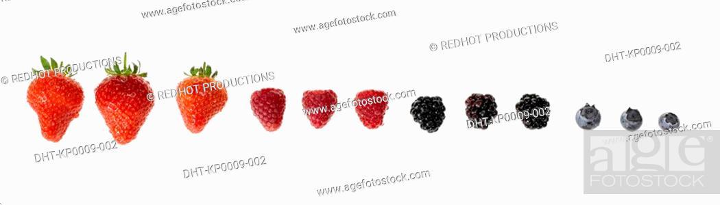 Stock Photo: Row of assorted Berries.