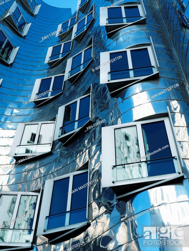 Stock Photo: Detail of the Neuer Zollhof building at the Medienhafen, Dusseldorf, Germany Architect Frank Gehry.