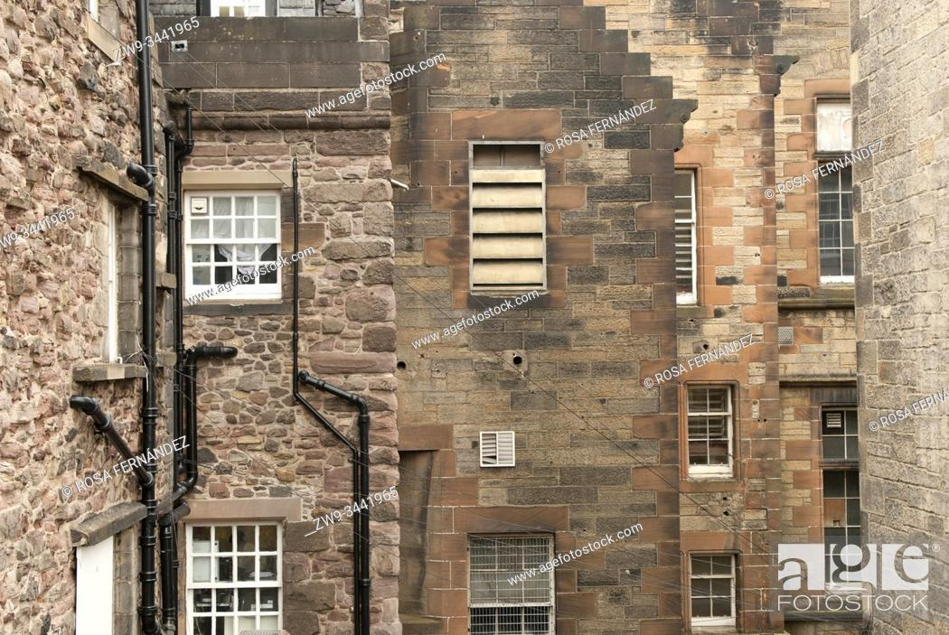 Stock Photo: Traditional facades and buildings, Edinburgh, Scotland, United Kingdom, Europe.