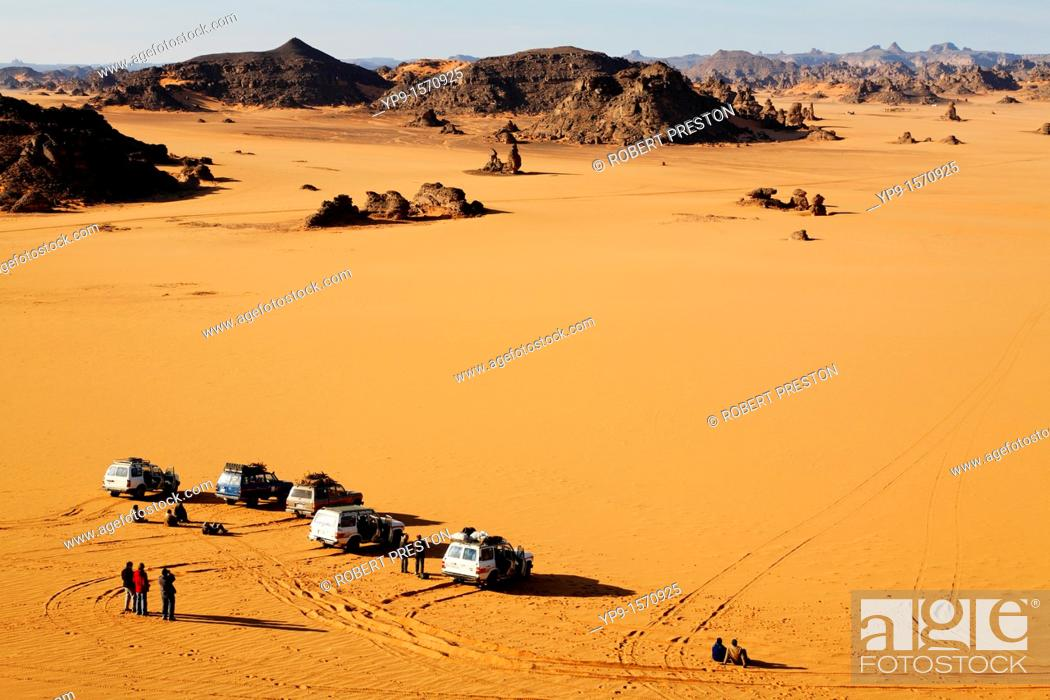 Stock Photo: Four wheel drive safari in the Akakus Mountains, Libya.