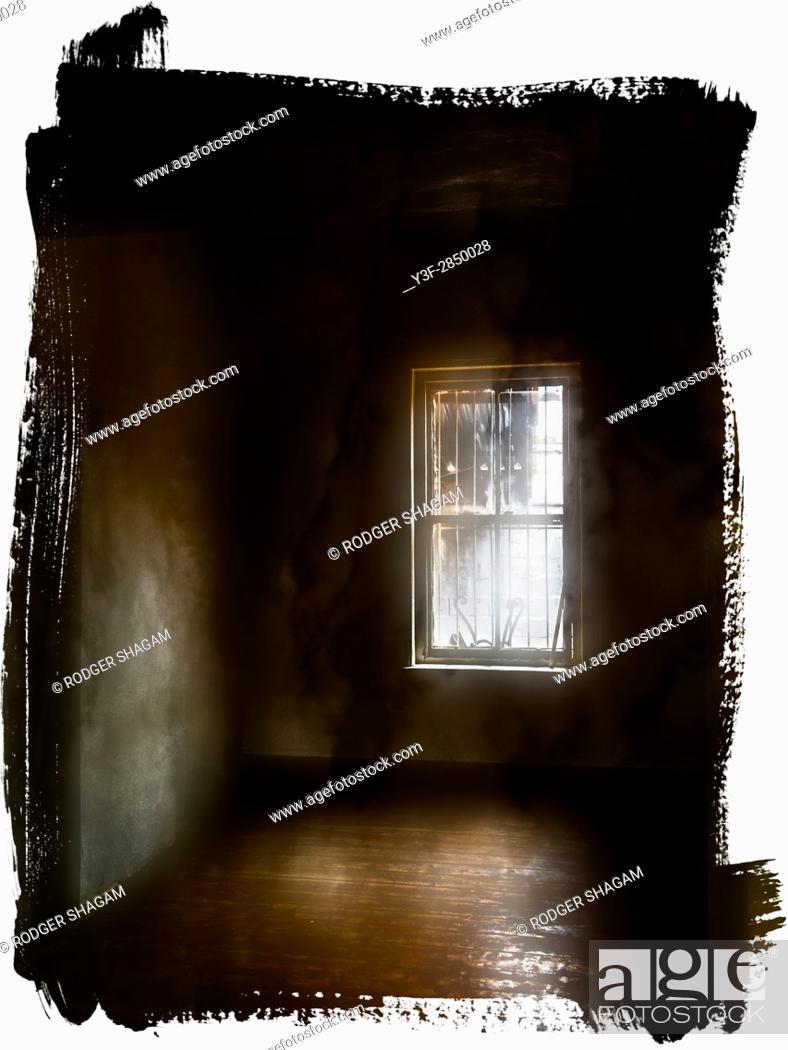 Stock Photo: Interior of an old, empty house, grimy sash window, oregon pine floors, eerie light.