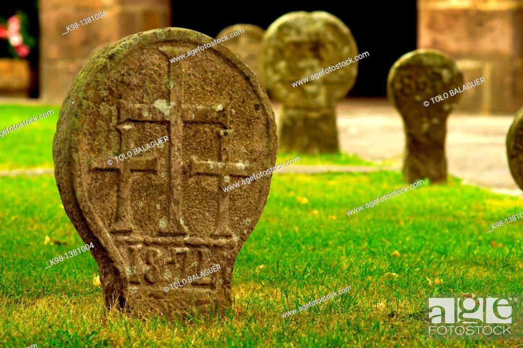 Stock Photo: Funerary stelae, Church of the Assumption, XVIII century, Etxalar, Navarra, Spain.