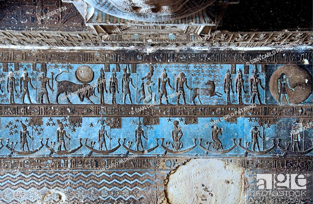 Stock Photo: Dendera Egypt, temple dedicated to the goddess Hathor. View of the hypostyle hall before cleaning.
