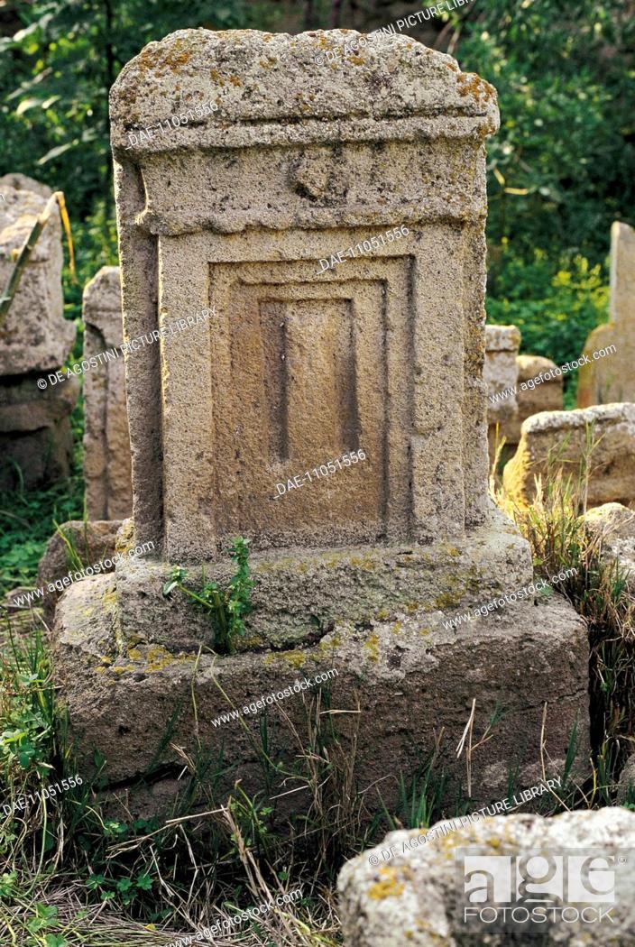 Stock Photo: Votive stele, Phoenician-Punic Tanit and Baal Hammon Tophet (sanctuary), Archaeological Site of Carthage (Unesco World Heritage List, 1979), Tunisia.