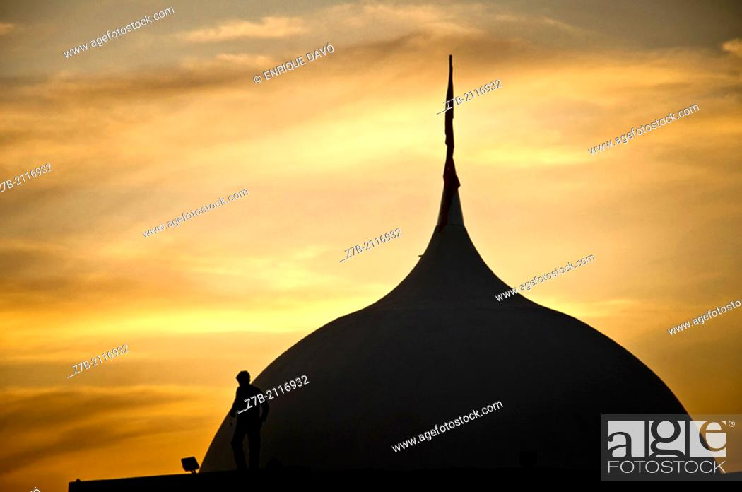 Stock Photo: A dome in Castilla region in a evening with a silhouelette of a man.