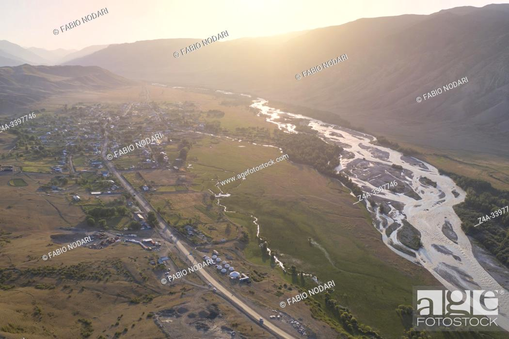 Stock Photo: Aerial view of the mountains and Saty village in Kazakhstan.