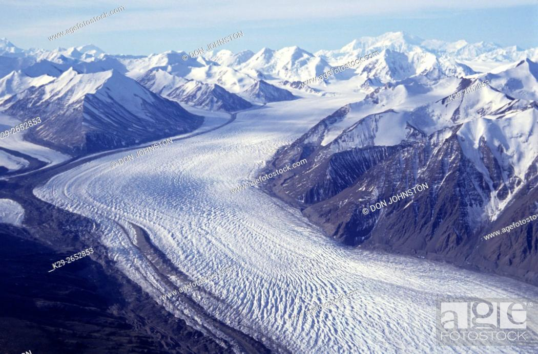 Stock Photo: Donjec glacier from air, Kluane NP, YT (Yukon), Canada.
