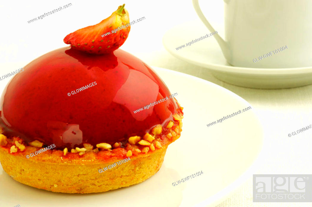 Stock Photo: Close-up of a strawberry tart in a plate.