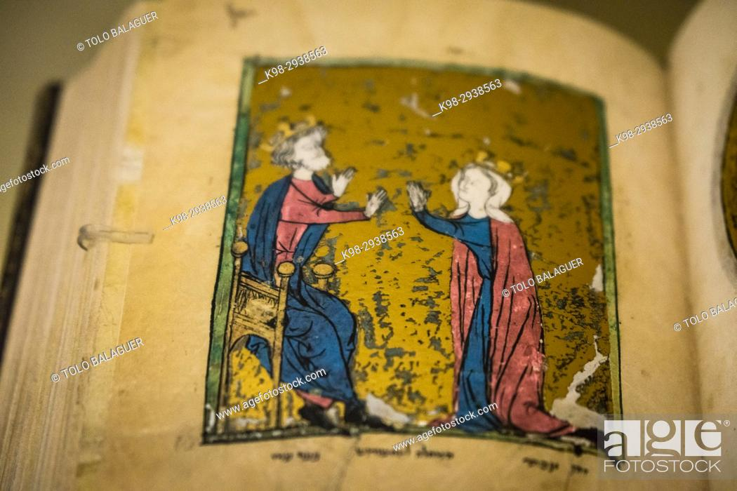 Stock Photo: manuscrito hebreo, alrededor de 1278, Museo Judío de Berlín, Berlin, Alemania, Europe.