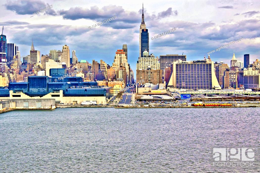 Stock Photo: Colorful view on New York City from bay, USA.